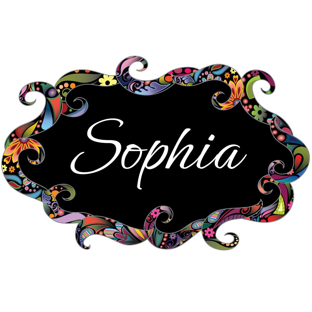 Floral Name Sign Wall Decal Colorful Flower Pattern Sticker