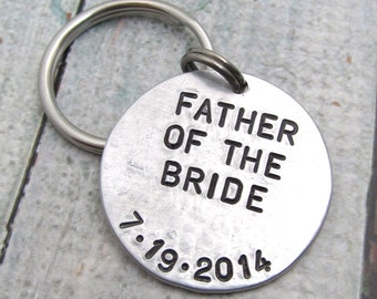 Father of the Bride Gift - Hand Stamped Keychain - Personalized Wedding Party Gift for Parents - Personalized Keychain