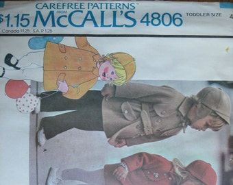 McCALL' S Pattern 4806 Toddlers' Coat and Hat   1975   Uncut