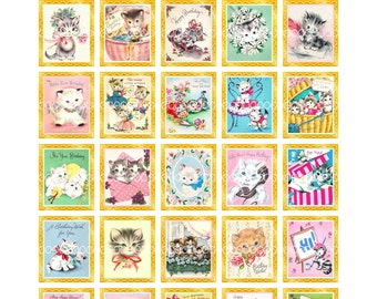 Digital Clipart, instant download, Vintage Birthday Card Images--kitty cat kitten gift flowers--8.5 by 11--Digital Collage Sheet  1443