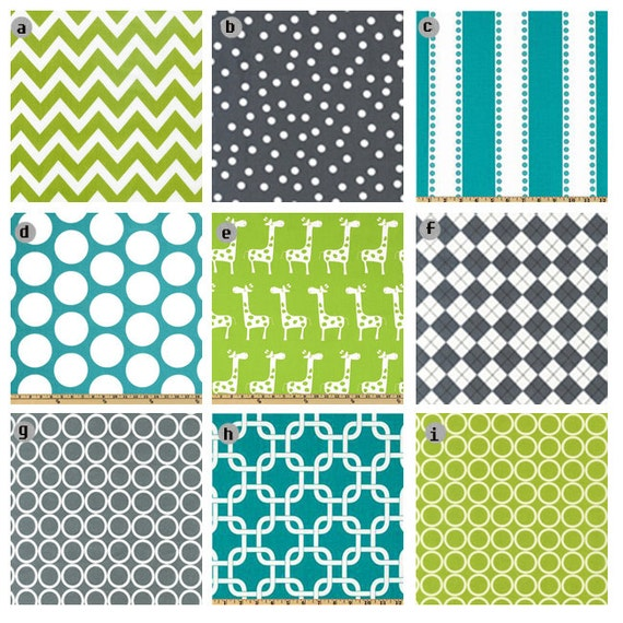 Items similar to crib bedding turquoise grey and lime for Lime green and turquoise bedroom