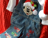 Personalized Mickey Mouse Christmas Overalls