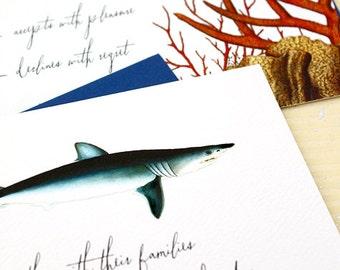 Shark Wedding Invitations, Aquarium Wedding Invites, Boho Beach Wedding Invite, Beach Wedding Invitation, Science Wedding, Offbeat Wedding