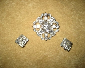 Vintage Large Rhinestone Brooch and Clip On Earrings