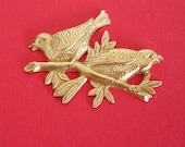 Birds on Branch Raw  Brass Stamping Ornament  Art Deco Antiqued Silver Jewelry Findings.