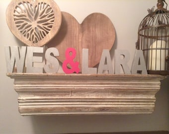 Personalised Wooden Name Sign - Price Per letter - Couples. Wedding, Engagement - various colours and finishes