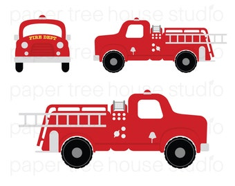 Cartoon of a Red Fire Truck and Ladder  Royalty Free