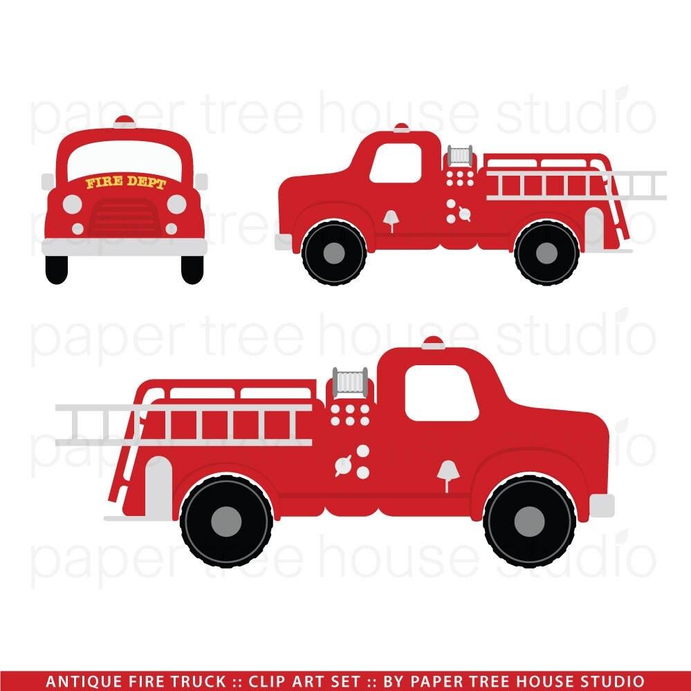 Clip Art Set Vintage Fire Truck 3 by papertreehousestudio