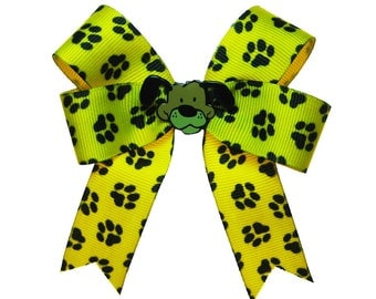 Puppy Paw Print Yellow Hair Bow