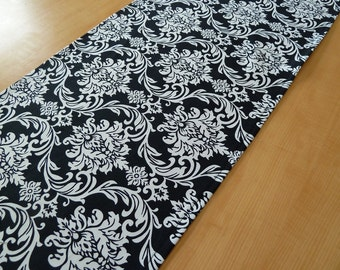 Black & white Damask Table Runner