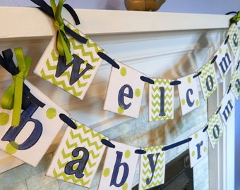 BABY Shower Decor/ Chevron Stripes and Dots/Welcome Baby Banner/Baby Shower Banner/Nursery Decor/Birth Announcement/Photo Prop/Custom colors