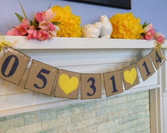 Wedding Date Banner - Save The Date Banner - Engagement Photo Prop Sign - Save The Date Invitation - Bridal Shower Deco