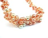 Peaches and Cream Necklace, Glass Pearl Crochet Necklace