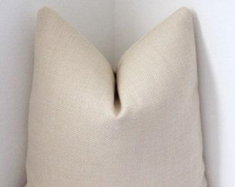 "Cream Belgium Basketweave Pillow Cover 18""x18""- Decorative Pillow Cover - Invivisible Zipper"