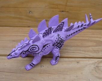Tattooed Dinosaur Stegosaurus stego handpainted toy decor kitsch purple
