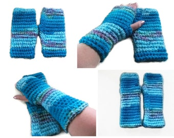 Instant Download. Gloves, PATTERN/TUTORIAL for Crochet Fingerless Mittens. 2 Lengths. Accessories, Winter warmers. Tutorial with Pictures.
