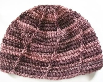 Chunky Hat Crochet Patterned in Pinks. Winter Warmers, Winter Accessories.