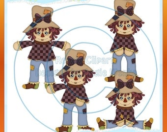 Fall Scarecrow Girls 1 Clipart (Digital Download)