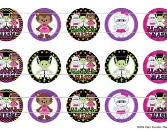 """15 Monster Mash 1 Digital Download for 1"""" Bottle Caps (4x6)"""