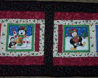 CHRISTMAS TABLE RUNNER - Holiday Penguins Quilted Table Runner