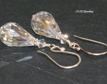 Clear Crystal Sterling Silver Dangle Earrings