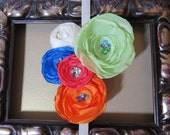 Tropical Islands Stretch Headband with Melon, Orange, Blue, Pink and Ivory Flowers/Rosette