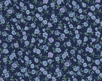 Silky Cotton Lawn, Floral Fabric, Navy with Light Blue Flowers