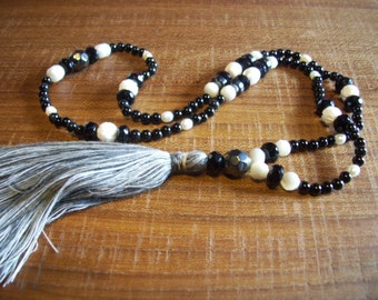 Onyx Hematite Pearl Mother of pearl conch  Mala Buddhist Rosary with Tassel