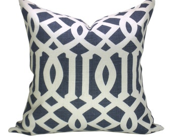 Schumacher Imperial Trellis pillow cover in Navy