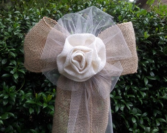 10 Shabby Chic Tulle Burlap Ivory Flower Pew Bows Chair Fence Table Wedding Decorations Decoration Bridal