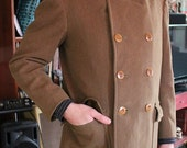 Mens WWII Wool Double Breasted Coat Jacket 1940s