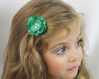 Green Flower Hair Clip - Bright Green Boho Chic Flower with Pearls - Custom Colors Available