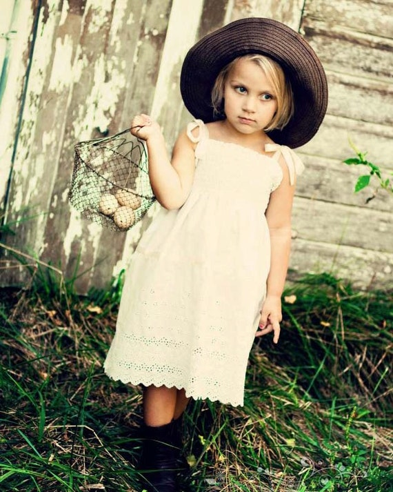 Rustic Flower Girl Dress... Cream, Ivory or White Eyelet...Vintage Lace... Eco-friendly...6m-10yrs