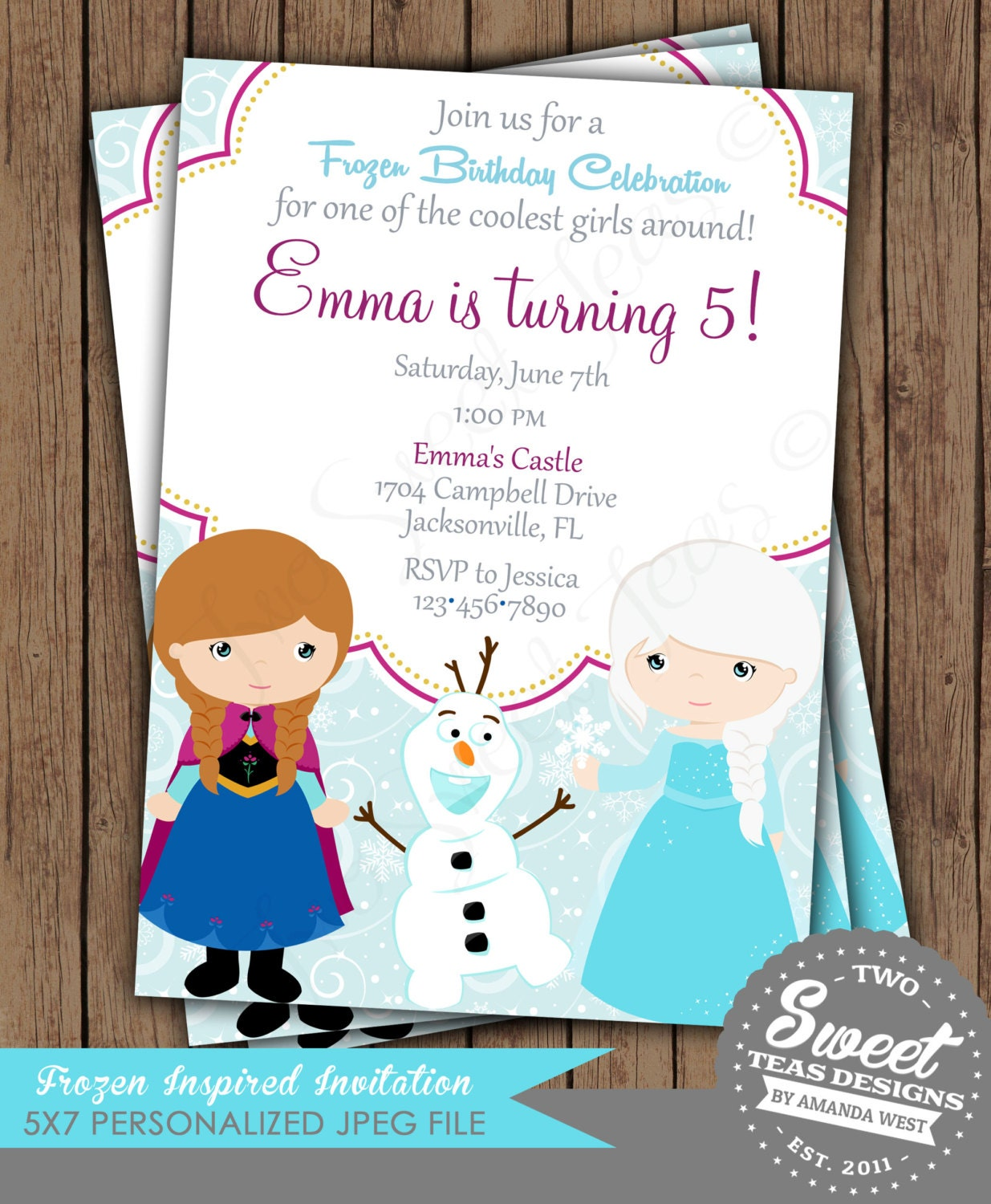 frozen invitation princess anna elsa disney inspired by