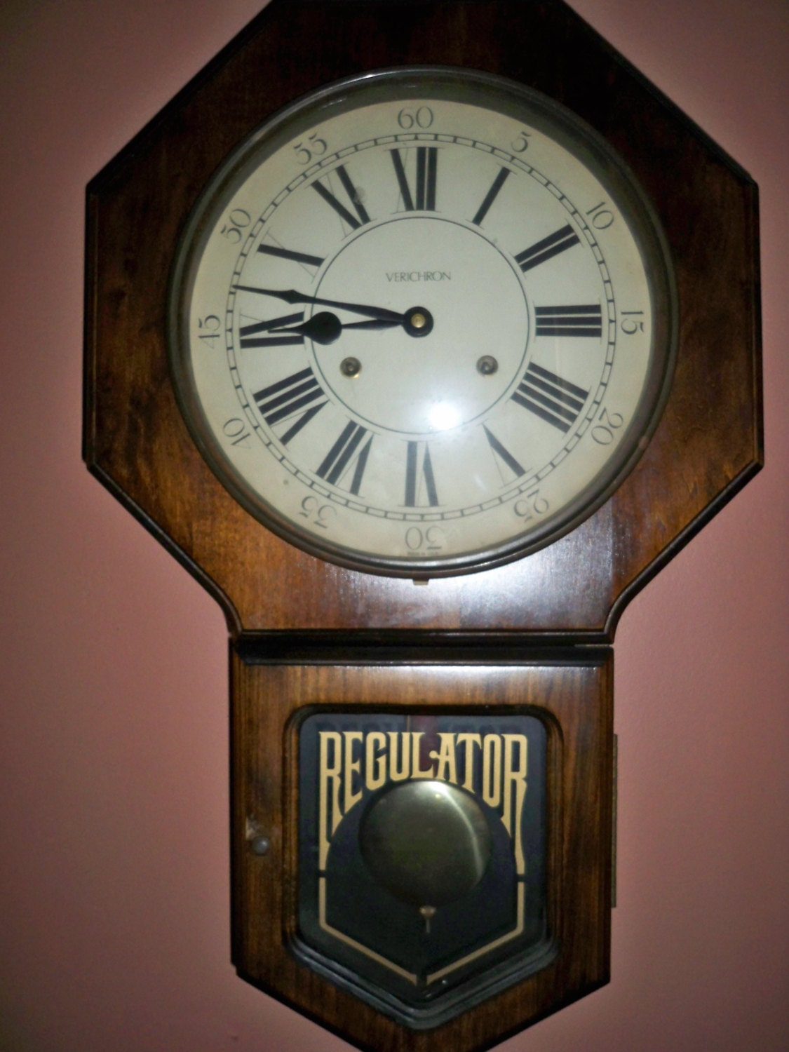 Vintage 1970 S Verichron Windup Regulator Wall Clock