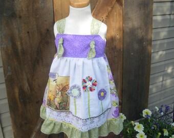 girls apron knot dress, fairy dress, purple sundress,  3T ready to ship,