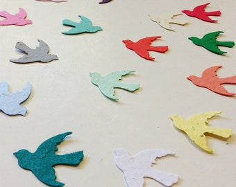 Plantable seed paper birds - 100 plantable seed paper birds - choose your color plantable birds