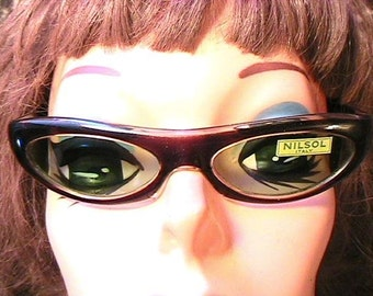Rockabilly 1950s Woman Pin-Up Sunglasses  - Green Lenses - MADE IN ITALY - French New/Old Stock