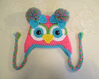 Pink, Lime and Turqouise Crocheted Owl Hat - Photo Prop - Available in Any Size or Color Combination