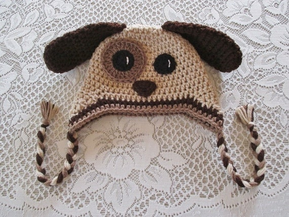 Chocolate Brown and Tan Crochet Puppy Hat - Photo Prop - Available in Any Size or Color Combination