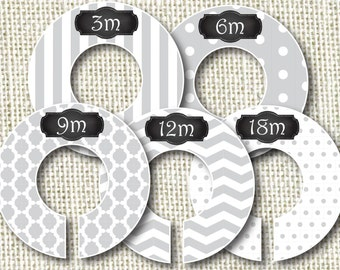 Baby Closet Dividers - Gray Patterns