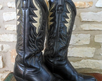 Vintage Black Acme Cowgirl Boots with Grey and White Feather Inlays