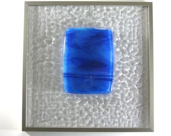 Fused Glass Abstract Art Sculpture Framed Cool Pool Artist Signed