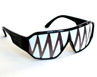 Rasslor Black Shark Teeth Party Shield Sunglasses