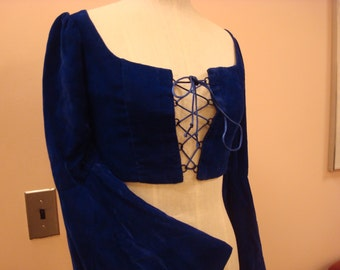 Blue velvet lace front top with bell sleeves
