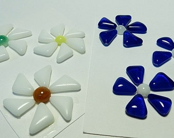 Glass Flowers For Mosaics, Jewelry, Magnets or other Embellishments 6 Flowers  (P228)