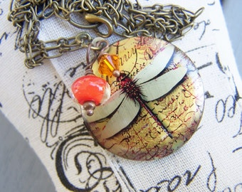 Dragonfly Locket Necklace Summer Colors
