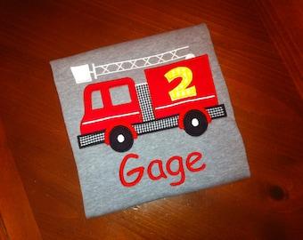 Custom firetruck birthday shirt