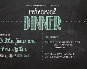 Printable chalkboard wedding rehearsal invitation