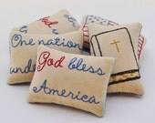 Patriotic Decorative Pillows - Religious - God Bless America - In God We Trust - One Nation Under God - 4th of July - Flag - Red Blue Plaid